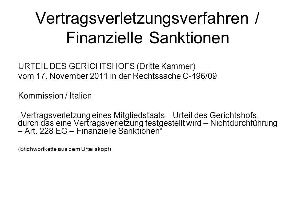 Vertragsverletzungsverfahren / Finanzielle Sanktionen
