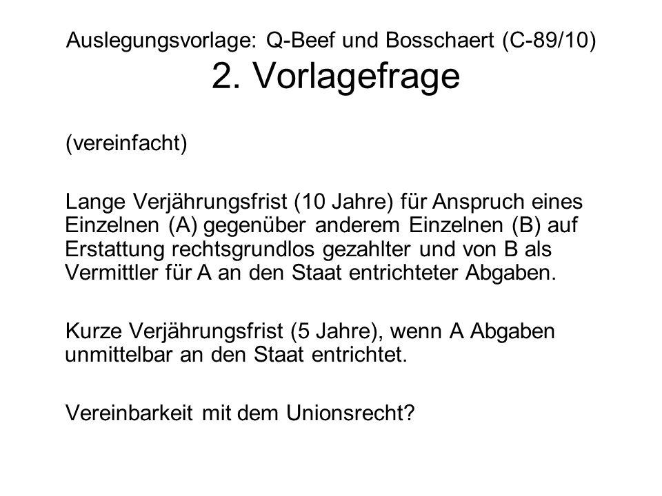 Auslegungsvorlage: Q-Beef und Bosschaert (C-89/10) 2. Vorlagefrage