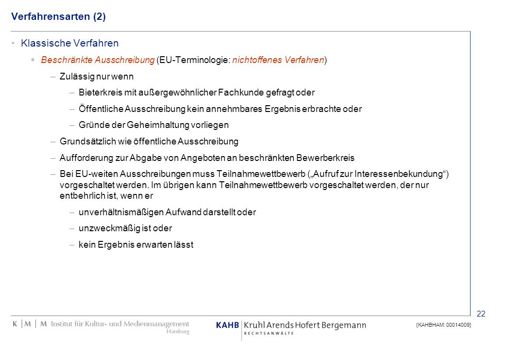 Verfahrensarten (2) Klassische Verfahren