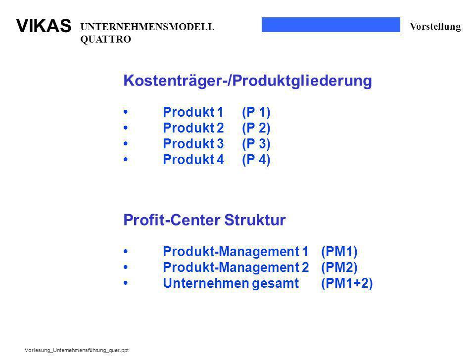 Kostenträger-/Produktgliederung
