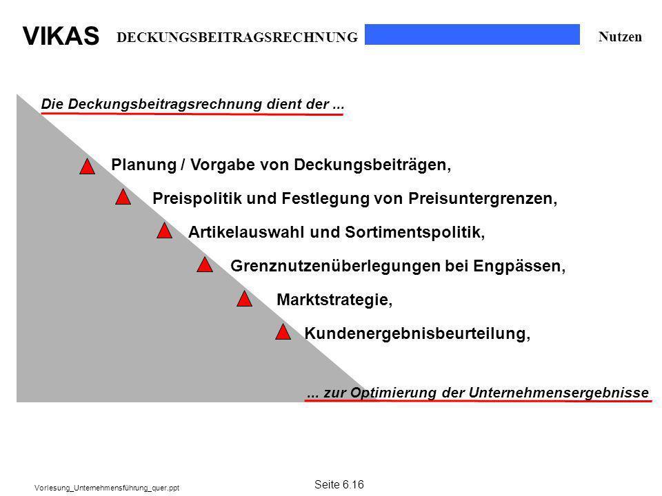 Planung / Vorgabe von Deckungsbeiträgen,