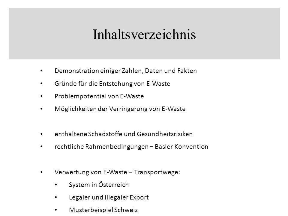 Inhaltsverzeichnis Demonstration einiger Zahlen, Daten und Fakten