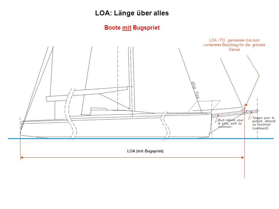 LOA / FO gemessen bis zum vordersten Beschlag für die grösste Genua