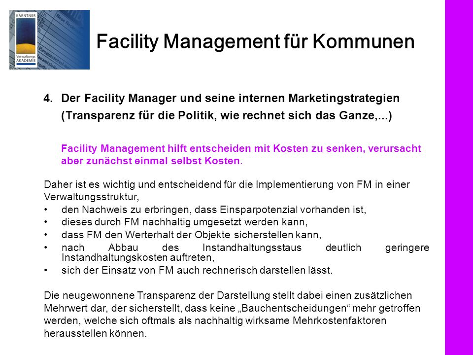 4. Der Facility Manager und seine internen Marketingstrategien