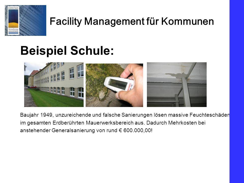 Beispiel Schule: Baujahr 1949, unzureichende und falsche Sanierungen lösen massive Feuchteschäden.