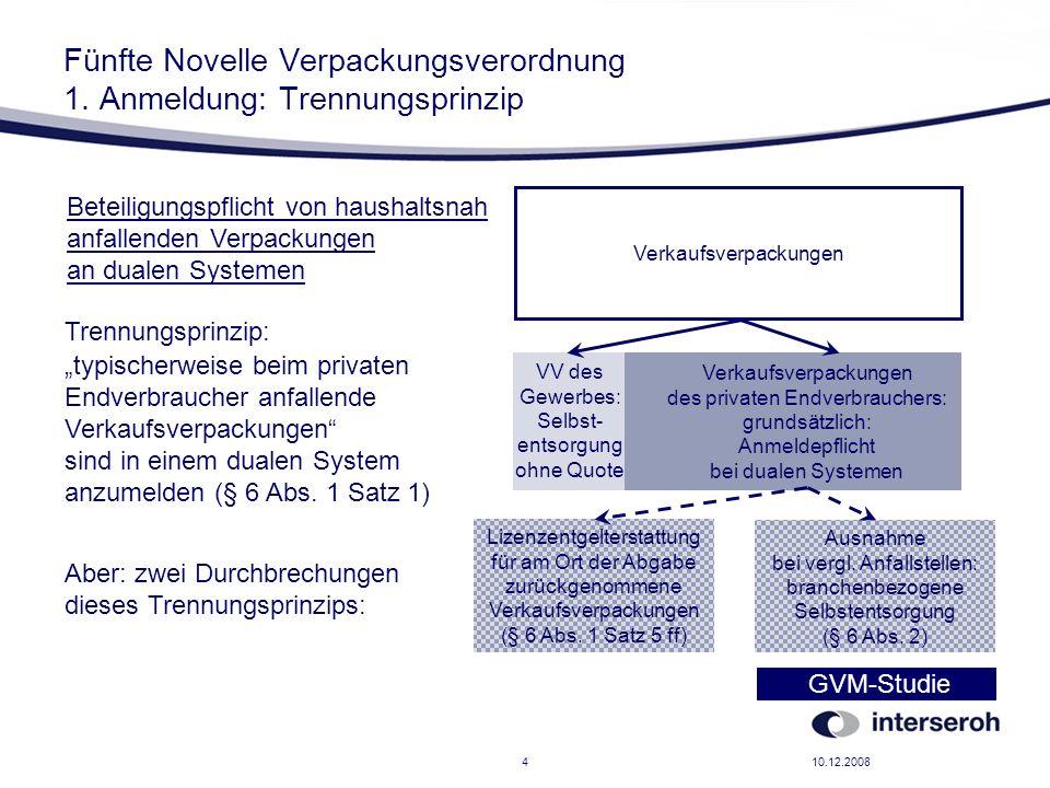 Fünfte Novelle Verpackungsverordnung 1. Anmeldung: Trennungsprinzip