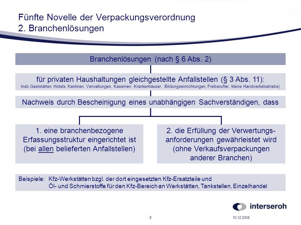 Fünfte Novelle der Verpackungsverordnung 2. Branchenlösungen