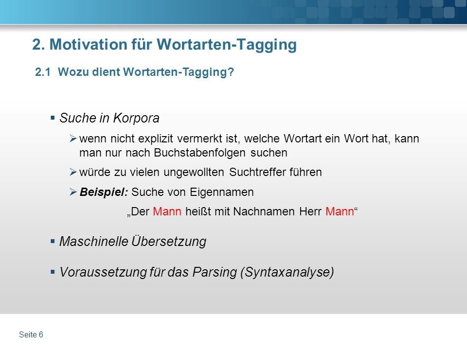 2. Motivation für Wortarten-Tagging