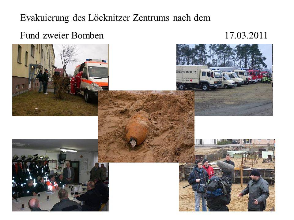 Evakuierung des Löcknitzer Zentrums nach dem