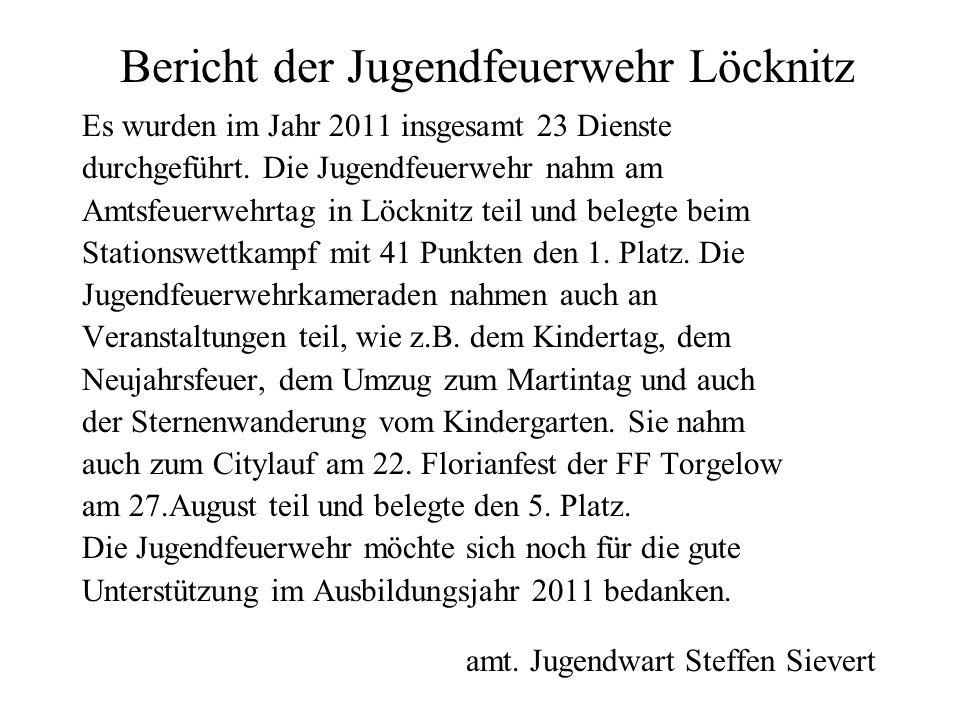 Bericht der Jugendfeuerwehr Löcknitz