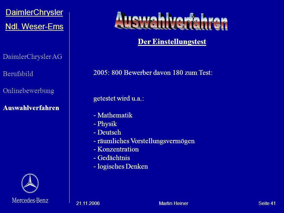 Auswahlverfahren DaimlerChrysler Ndl. Weser-Ems Der Einstellungstest