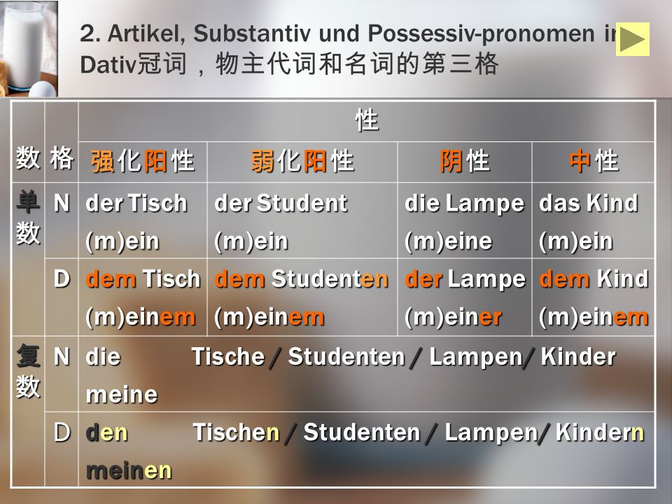 2. Artikel, Substantiv und Possessiv-pronomen im Dativ冠词,物主代词和名词的第三格
