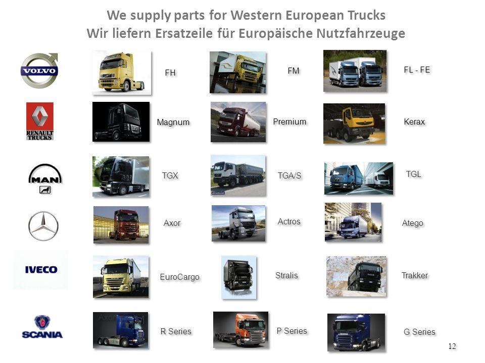 We supply parts for Western European Trucks Wir liefern Ersatzeile für Europäische Nutzfahrzeuge