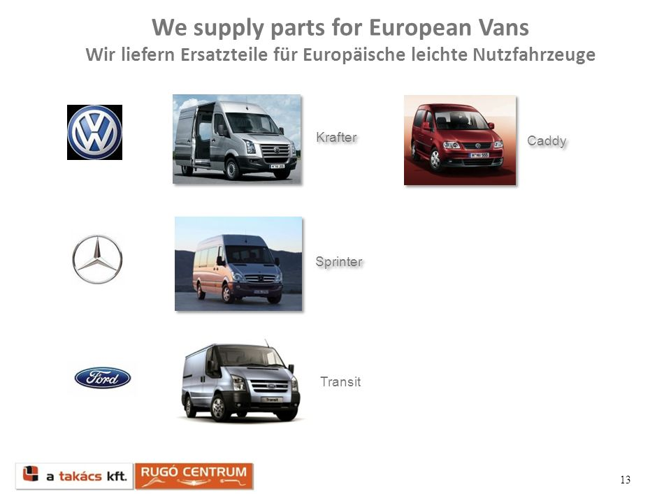 We supply parts for European Vans Wir liefern Ersatzteile für Europäische leichte Nutzfahrzeuge