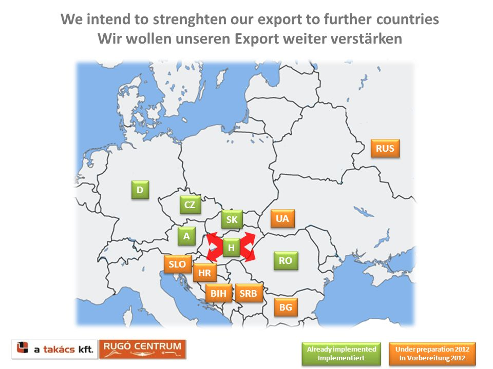 We intend to strenghten our export to further countries Wir wollen unseren Export weiter verstärken