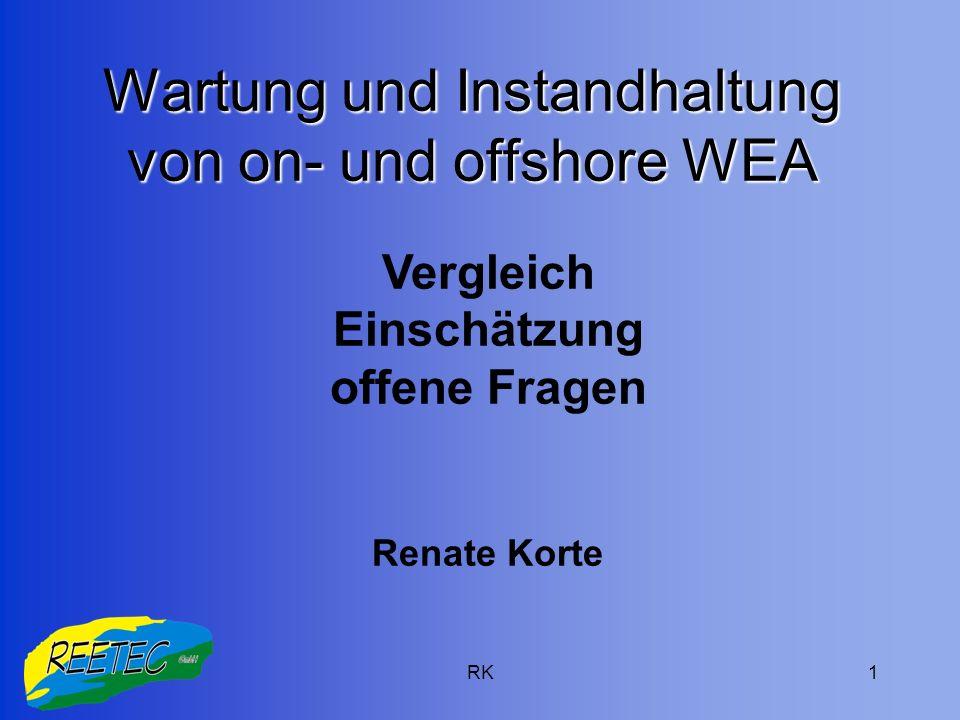Wartung und Instandhaltung von on- und offshore WEA