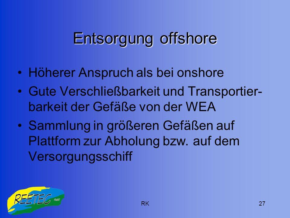 Entsorgung offshore Höherer Anspruch als bei onshore
