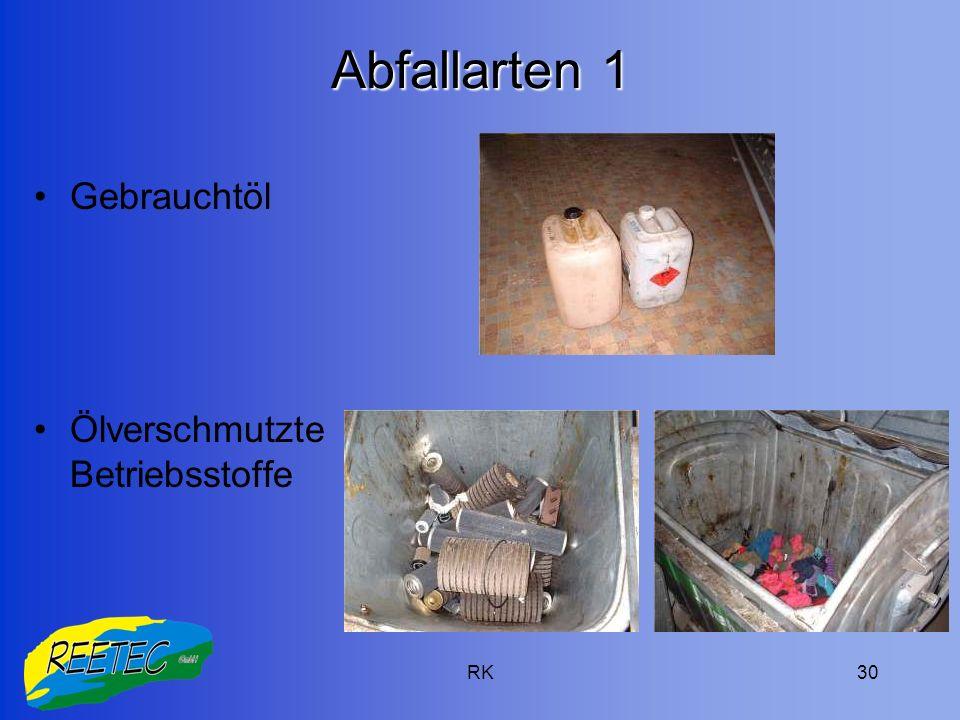 Abfallarten 1 Gebrauchtöl Ölverschmutzte Betriebsstoffe RK