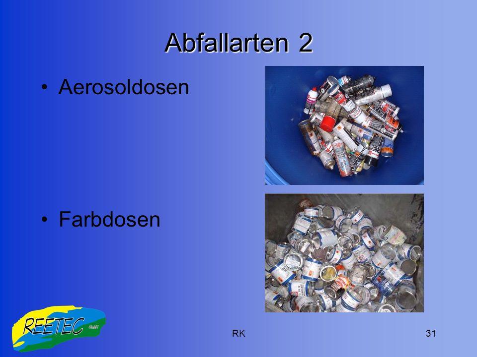 Abfallarten 2 Aerosoldosen Farbdosen RK