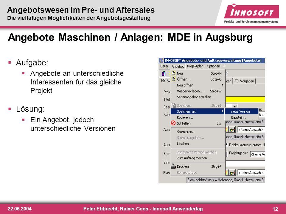 Angebote Maschinen / Anlagen: MDE in Augsburg