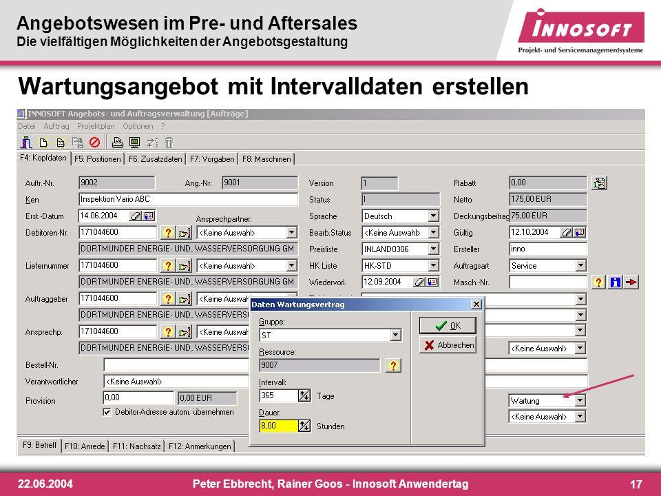 Wartungsangebot mit Intervalldaten erstellen