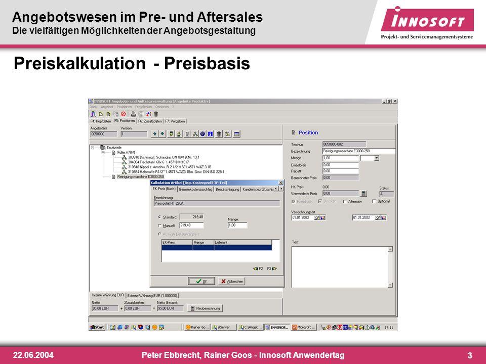 Preiskalkulation - Preisbasis