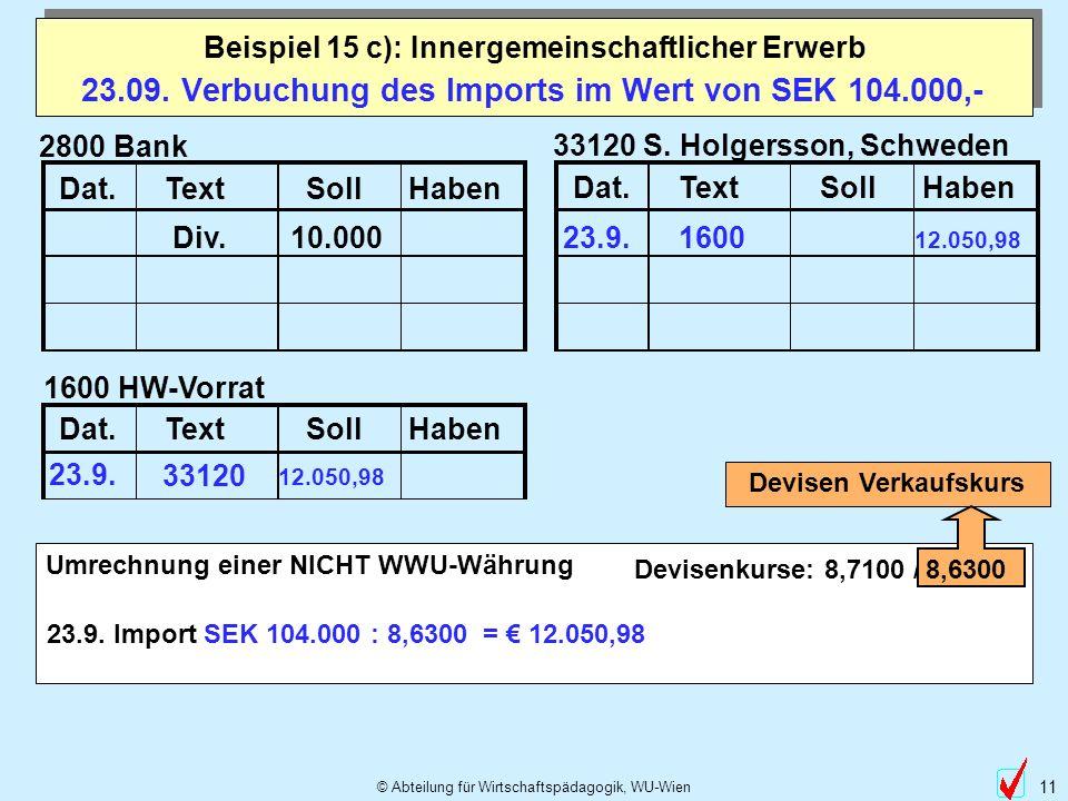 23.09. Verbuchung des Imports im Wert von SEK 104.000,-