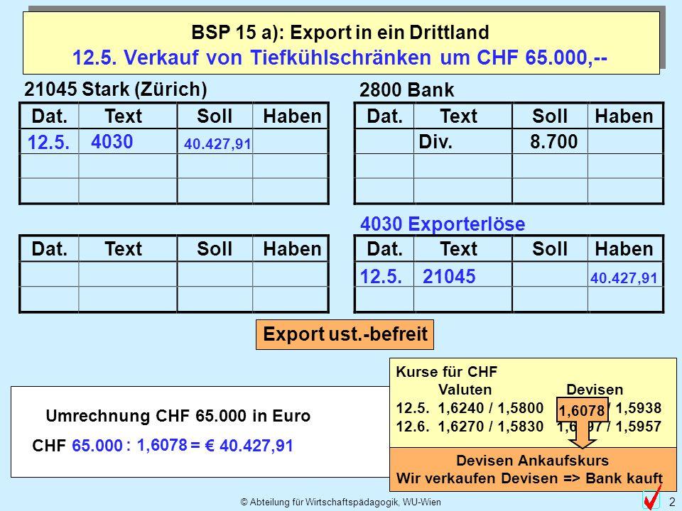 12.5. Verkauf von Tiefkühlschränken um CHF 65.000,--