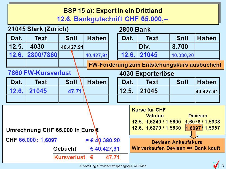 BSP 15 a): Export in ein Drittland Umrechnung CHF 65.000 in Euro €