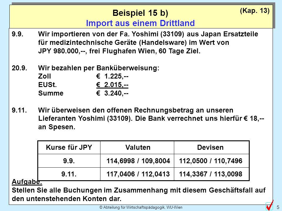 Beispiel 15 b) Import aus einem Drittland