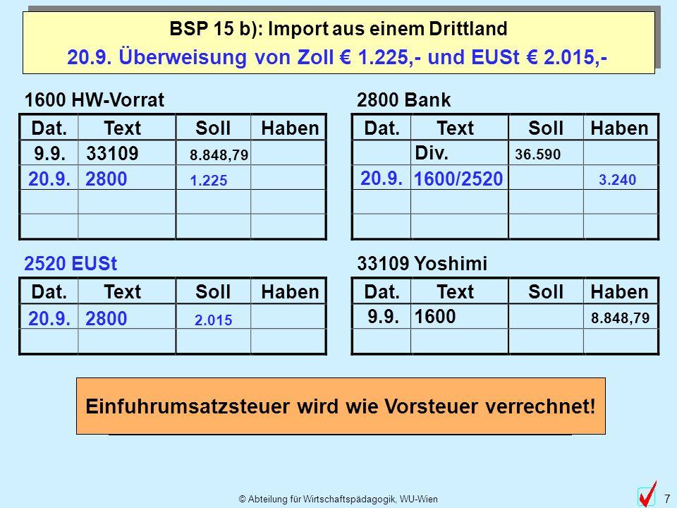 20.9. Überweisung von Zoll € 1.225,- und EUSt € 2.015,-
