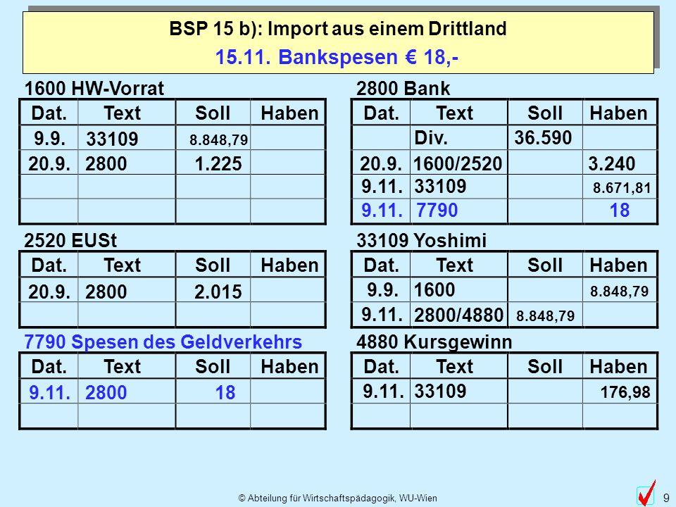BSP 15 b): Import aus einem Drittland
