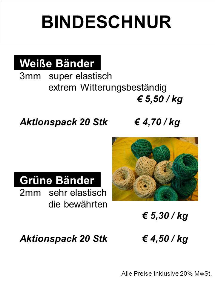BINDESCHNUR Weiße Bänder Grüne Bänder 3mm super elastisch