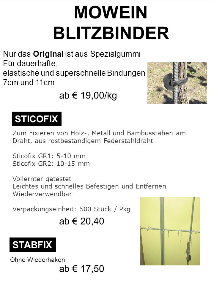 MOWEIN BLITZBINDER ab € 19,00/kg STICOFIX ab € 20,40 STABFIX