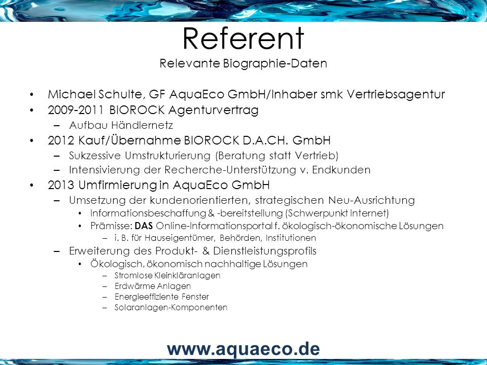 Referent Relevante Biographie-Daten