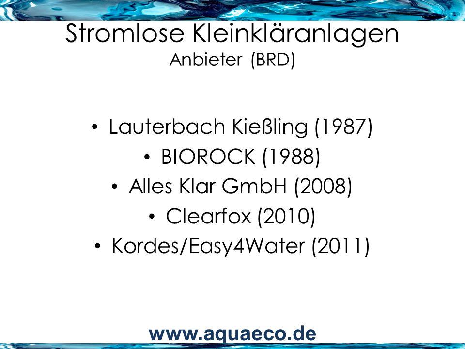 Stromlose Kleinkläranlagen Anbieter (BRD)