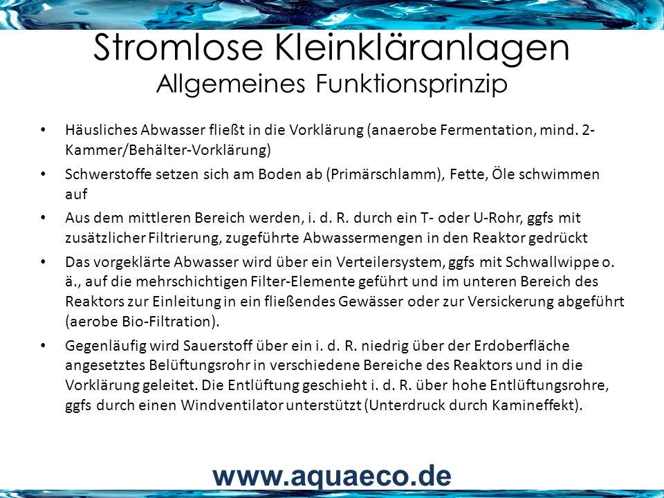 Stromlose Kleinkläranlagen Allgemeines Funktionsprinzip