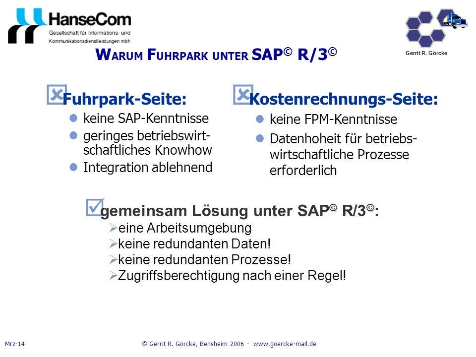 WARUM FUHRPARK UNTER SAP© R/3©