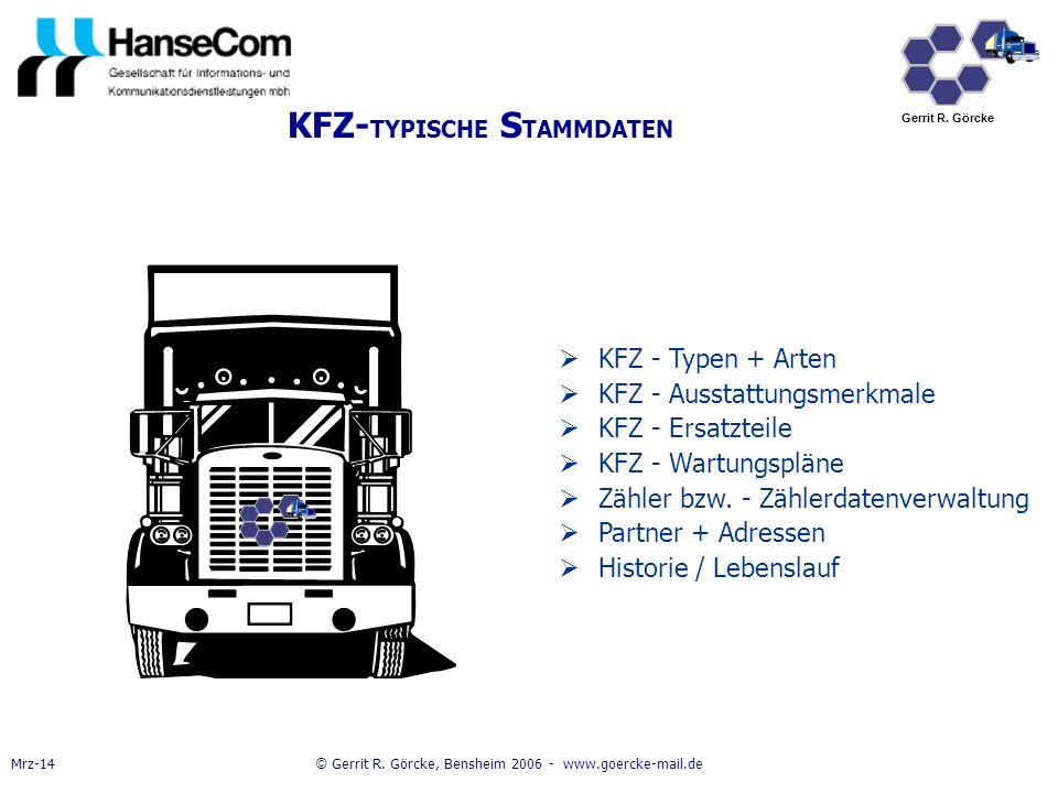 KFZ-TYPISCHE STAMMDATEN