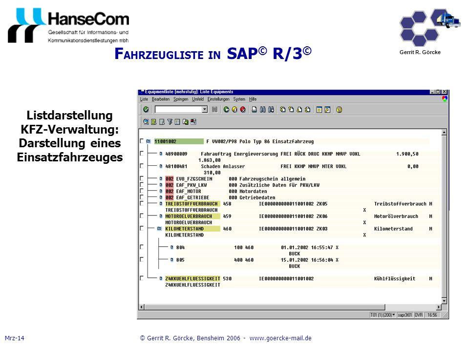 FAHRZEUGLISTE IN SAP© R/3©