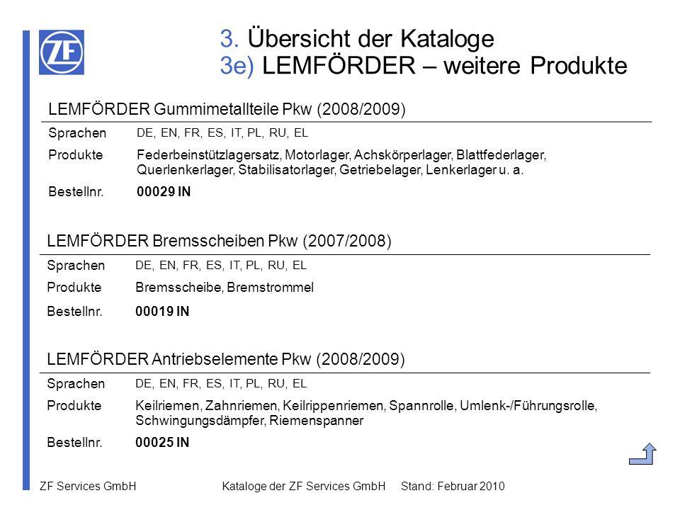 3. Übersicht der Kataloge 3e) LEMFÖRDER – weitere Produkte