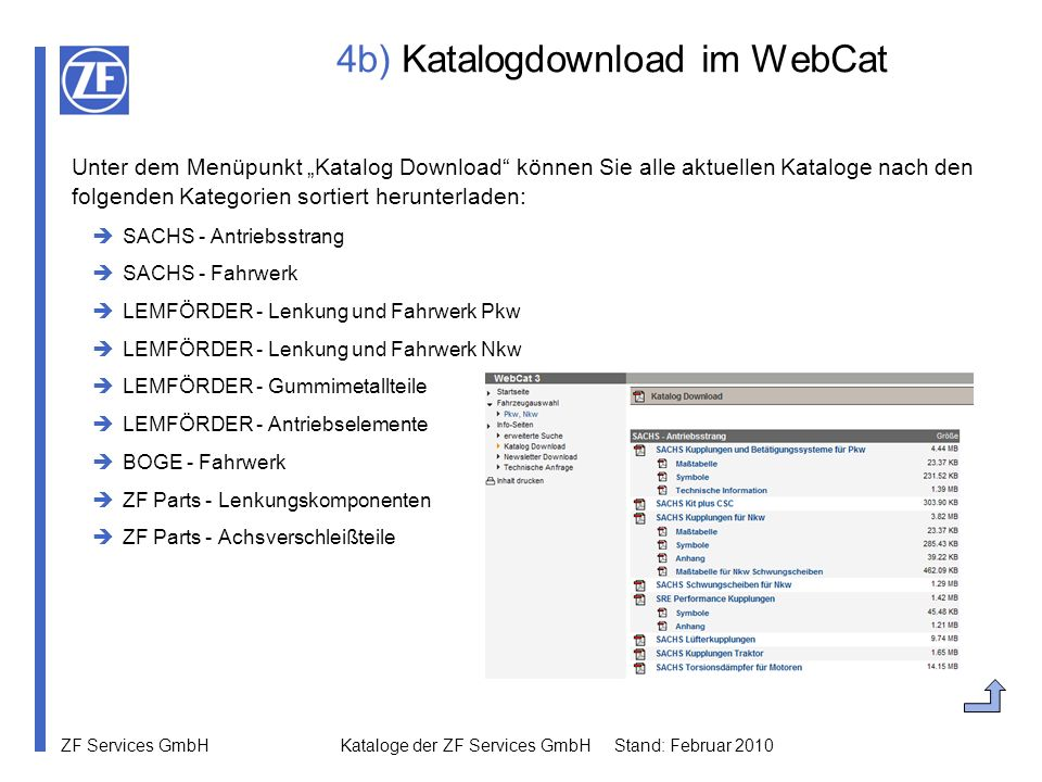 4b) Katalogdownload im WebCat