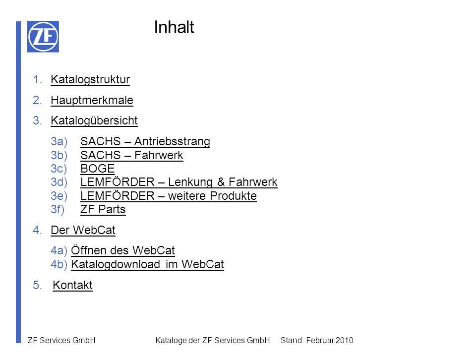 Inhalt Katalogstruktur Hauptmerkmale Katalogübersicht