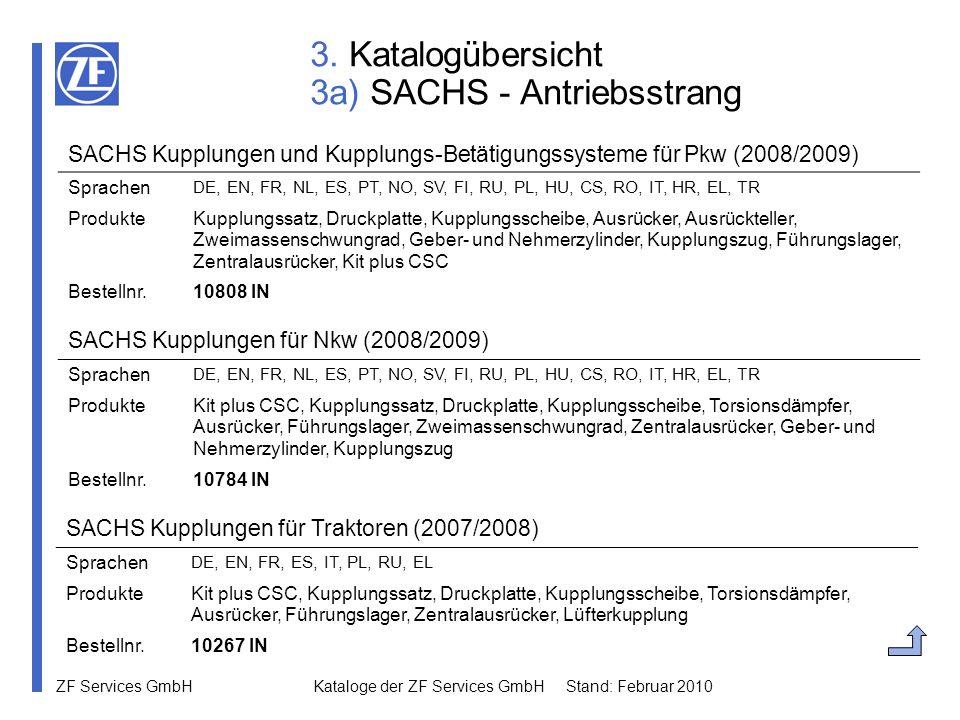 3. Katalogübersicht 3a) SACHS - Antriebsstrang