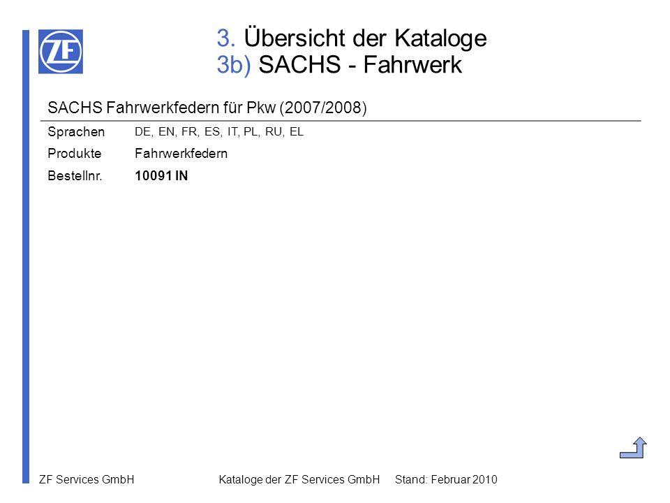3. Übersicht der Kataloge 3b) SACHS - Fahrwerk
