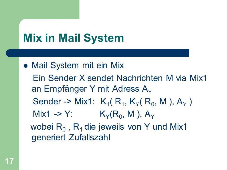 Mix in Mail System Mail System mit ein Mix