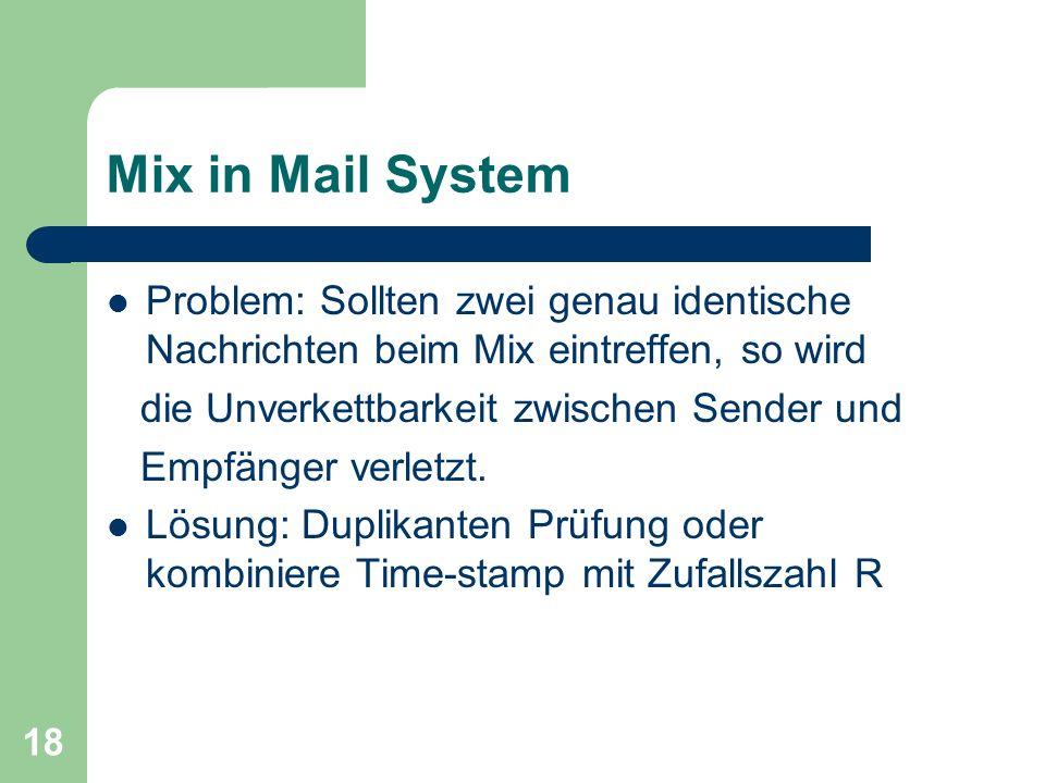 Mix in Mail System Problem: Sollten zwei genau identische Nachrichten beim Mix eintreffen, so wird.