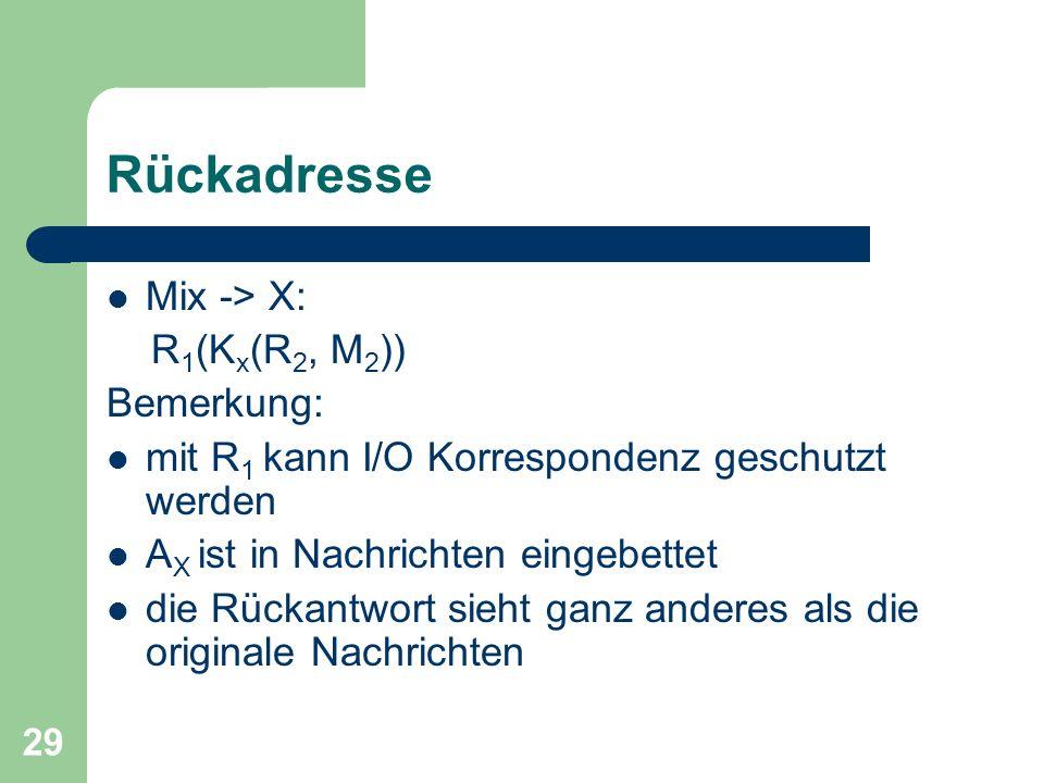 Rückadresse Mix -> X: R1(Kx(R2, M2)) Bemerkung: