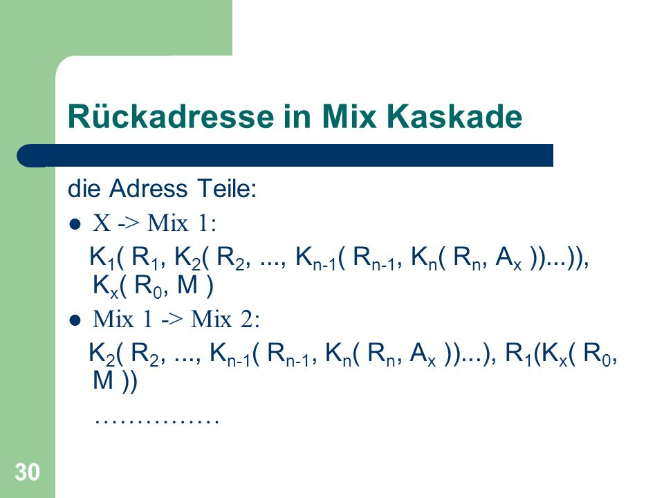 Rückadresse in Mix Kaskade