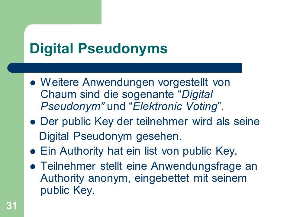 Digital Pseudonyms Weitere Anwendungen vorgestellt von Chaum sind die sogenante Digital Pseudonym und Elektronic Voting .